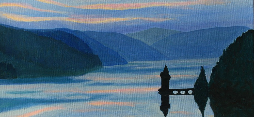 Dusk over Lake Vyrnwy, an oil painting by Sue Newham