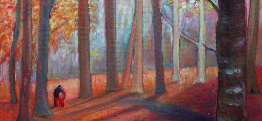 First steps in autumn, a painting by Mid Wales artist, Sue Newham
