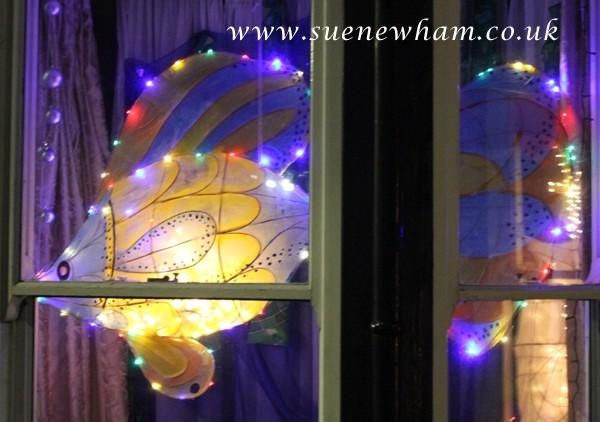 Fish lantern lit